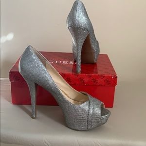 Guess silver peep toe platform shoes